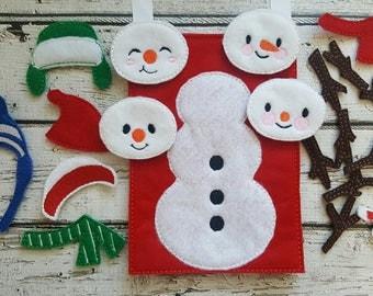 Build a Snowman * Playtime * Storage Bag * Gift * Birthday Present * Easter Gift * Pretend Play * Felt Snowman Play Set