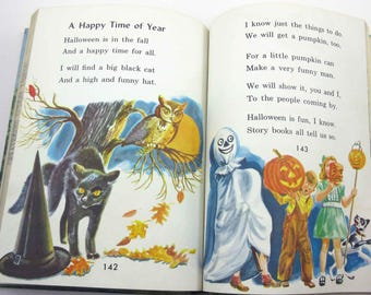Around Green Hills Vintage 1950s Children's School Reader or Textbook with Halloween