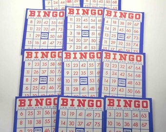 Vintage Red White and Blue Patriotic Bingo Cards Set of 11 Lot A