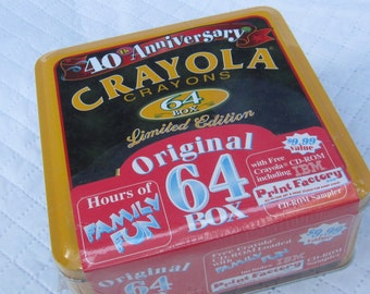 1992 Unopened Box Crayola Crayons in Collectable Tin