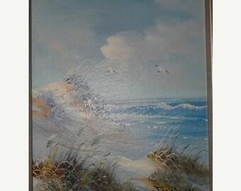 On Sale Signed Oil Painting Sand Dunes, Sea Grass, Beach, Nautical Sea Life, Sea Gull Signed, Sea Life, Beach Cottage Decor, Oil Painting