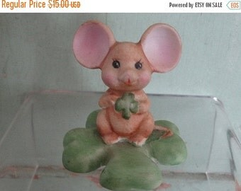 On Sale Saint Patrick's Day Mouse, Russ, Mice, Clover, Green St. Pattys Day, Rodent, Porcelain Mouse Figurine