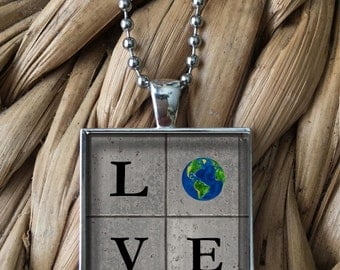 LOVE Earth Travel Tile Glass Pendant Necklace