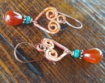 Copper Heart Earrings - Carnelian - Turquoise - Rustic Earrings - Cowgirl Jewelry - Gemstone Earrings by Heart of a Cowgirl