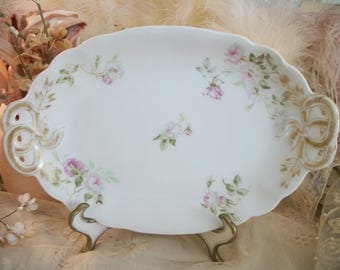 small antique french china handled tray, ch field haviland limoges. romantic french antique roses, pale pink and white, lacy gold work