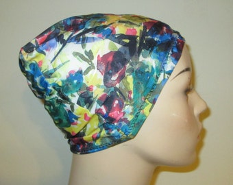 Chemo Hat Lycra Multi Colored Floral Beanie Play Sleep Cap, Cancer Hat, Alopecia Chemo Hat