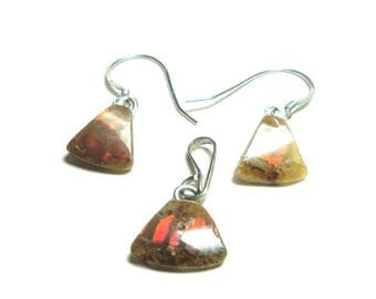 Ammolite sterling silver pendant and earring set
