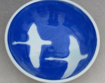 Blue Porcelain Swan Bowl