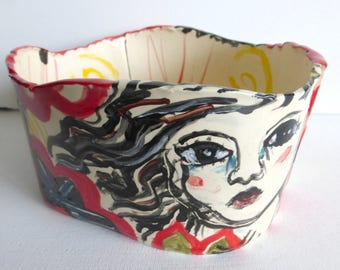 bowl ceramic figurative bowl salad bowl fruit bowl veggies bowl planter red black white yellow serving bowl