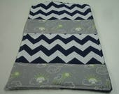 Whales You Are My Sunshine in Green Gray Navy Minky Baby Burp Cloth 10 x 17 READY TO SHIP On Sale