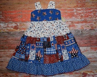 """AMERICANA Girls """"Lucy"""" style Knotted Dress size 2/3 - 5/6 - 7/8   July 4 RED WhITe & BLUE  patriotic Ready to Ship!"""