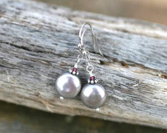 Silver Freshwater Coin Pearl, Garnet Gemstone, Sterling Silver Handmade Earrings, Coin Pearl Jewelry, June Birthstone, Birthstone Jewelry
