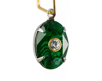 Swarovski Emerald Stone with White Swirl and Crystal Inset in 1 Loop Silver Setting (1) 14x10mm ovl010P