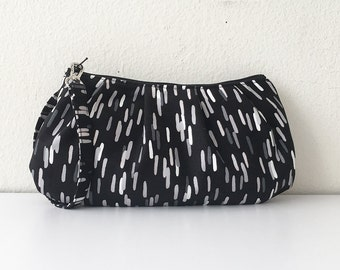 Pleated Wristlet Zipper Pouch // Clutch - Fragments in Charcoal