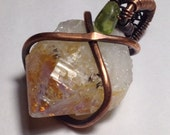 Citrine Crystal with Peridot in copper, pendant