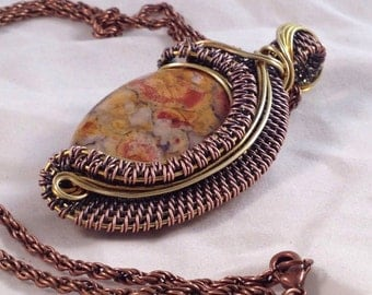 Large woven wire wrapped Rhyolite bead pendant, necklace