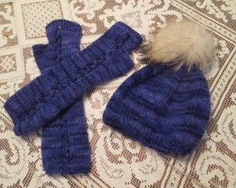Long Eyeleted Fingerless Mitts and Cap
