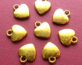 Gold Heart Charms - Set of 20 - 12mm Antique Gold Finish Metal Charms, Small Golden Hearts (BC0054)