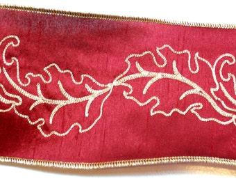Christmas Ribbon, Lion Brand Burgundy Gild Leaf Wired Fabric Ribbon 4 inches wide x 10 yards, Full Bolt