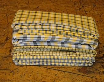 Yellow Cotton Material | Scrap Material |  Green Material Scrap Bundle | Primitive Material | Sewing Material | Quilt Material