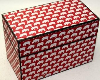 Wood Recipe Box Pigs Rustic County Farm Fits 4x6 Recipe Cards