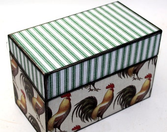 Wood Recipe Box Chickens Rustic County Farm Fits 4x6 Recipe Cards
