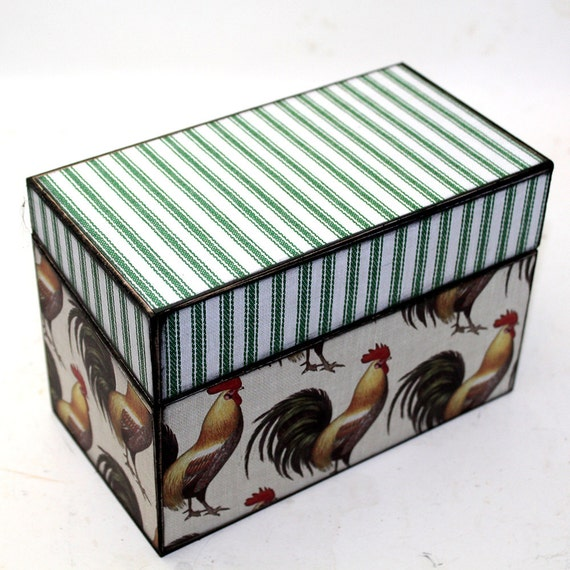 Wood Recipe Box Chickens Rustic County Farm Fits 4x6 Recipe Cards