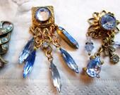 Banana Bob Jewelry - Findings - Sapphire Blue Swarovski & Rhinstones with Bronze Ox -  3 Findings