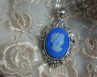 Blue Antique German Glass Cameo Necklace (small)