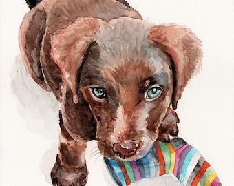 Fine art Print or original watercolor by Redstreake, Labrador retriever dog puppy  2 sizes