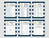 Nautical Bridal Shower Games Package / Nautical Bridal Shower / Anchor / Navy & Gold / 6 Printable Bridal Games / INSTANT DOWNLOAD B101