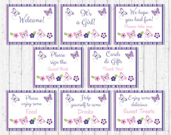 Cute Butterfly Baby Shower Table Signs / Butterfly Baby Shower / Pink & Purple Butterfly / 8 Printable Party Signs / INSTANT DOWNLOAD A248