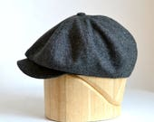 RESERVED - Men's Newsboy Cap in Dark Gray Linen - Made to Order
