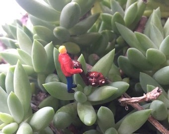 Miniature Man Mowing Lawn in HO Scale perfect for Planter or Terrariums and Dad