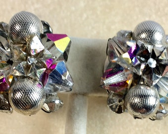 Silver Tone Bead and Faceted AB Crystal Vintage Clip Style Earrings