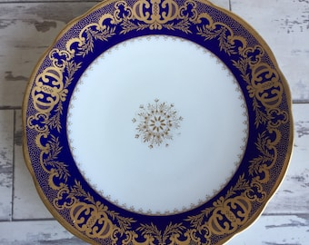 Vintage Minton Plate - Cobalt and Gold 8.5 Inch Dinner Plate