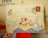 ARTWORK - original - hand embroidered vintage envelope - In the garden