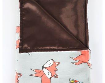 BABY BLANKET / Orange Fox on gray  background minky print with soft silky satin /Great  baby shower  gift/ Gender neutral
