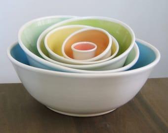 Large Rainbow Nesting Bowls, Ceramic Pottery Stoneware Serving Set, Wedding Gift, Stacking Bowls, Anniversary Gift