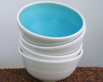 Ceramic Soup Bowls, Small Cereal Bowls in Turquoise Blue, Set of 4 Stoneware Pottery Bowls, Hand Thrown, Wedding Gift