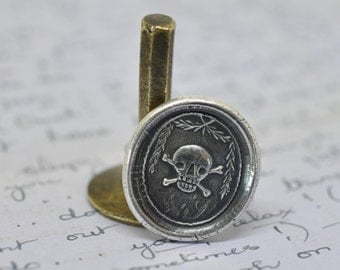 skull ring - skull and crossbones wax seal ring ... memento mori - sterling silver antique wax seal jewelry