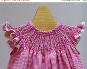 Holiday Sale Smocked Pink Gingham Bishop Dress Hand Smocked  3 month READY to SHIP