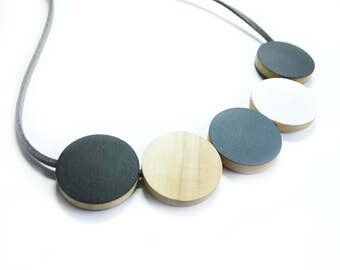 Wooden Necklace, Grey Monochrome Jewellery, Scandinavian Necklaces, Wooden Jewellery, Black and White Necklaces, Simple Necklace