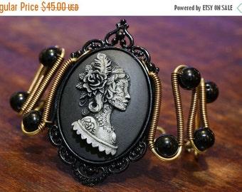 HAPPY HOLIDAYS SALE - Steampunk Goth Jewelry - Bracelet - Dia de la muerte