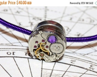 HAPPY HOLIDAYS SALE - Cyber-steampunk Bracelet - Purple