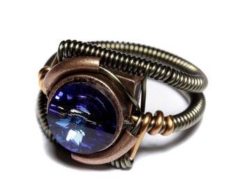 SALE 25% OFF - Steampunk Jewelry - RING - Bermuda Blue Swarovski Crystal