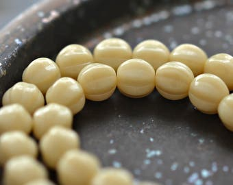 Condensed Milk - Premium Czech Glass Beads, Opaque Beige, Ribbed Melon Rounds 8mm - Pc 25