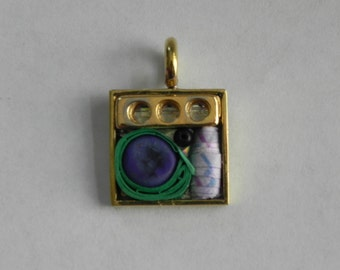 Gold, Green and Purple Mixed Media Square Brass Pendant