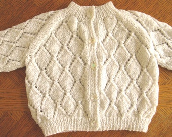 white christening sweater, toddler hand knit sweater, 6 - 12 mos size, raglan sleeves, cardigan, pearl button front