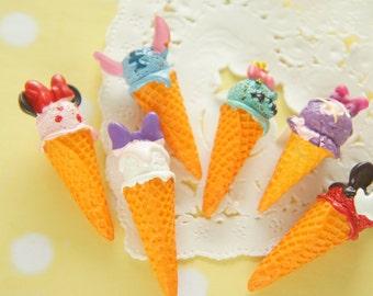 6 pcs 3D Kawaii Ice Cream Cone Cabochon (13-15mm H40-43mm) CD695